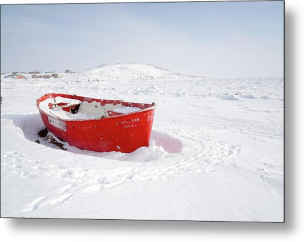 The Red Fishing Boat Metal Print