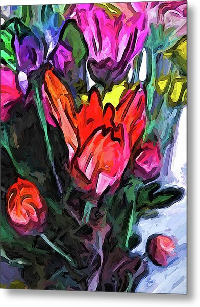 The Red Flower And The Rainbow Flowers Metal Print