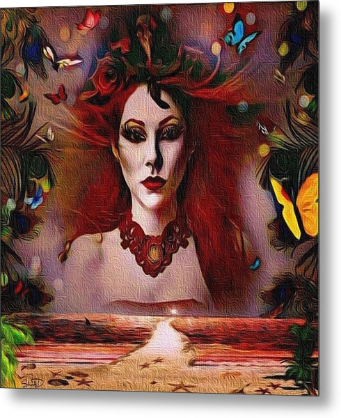 The Red Lady Shore Metal Print