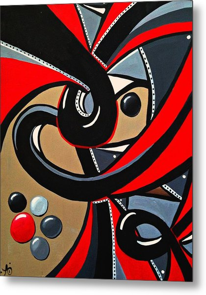 Red And Black Abstract Art Painting Metal Print