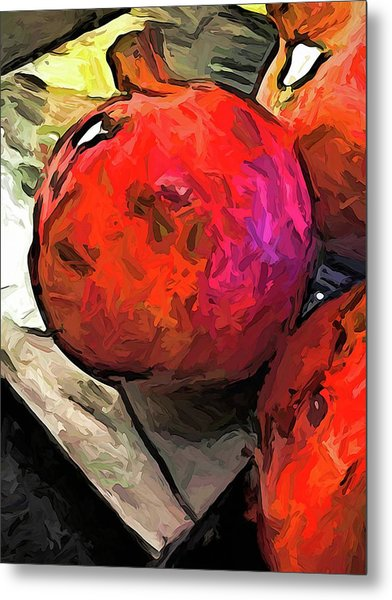 The Red Pomegranates On The Marble Chopping Board Metal Print