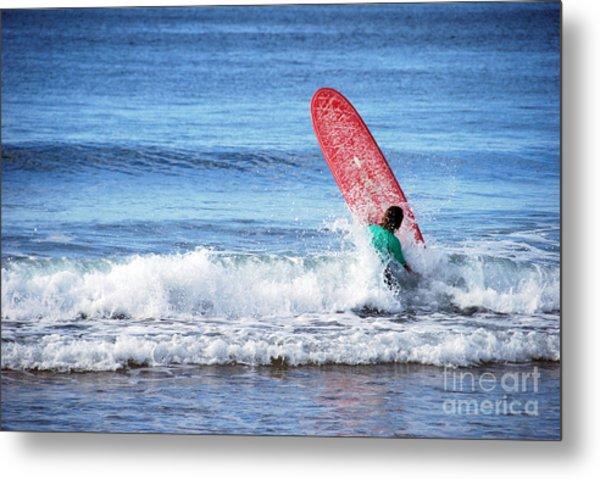 The Red Surfboard Metal Print by Joe Scoppa