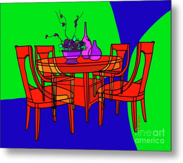 The Red Table Metal Print