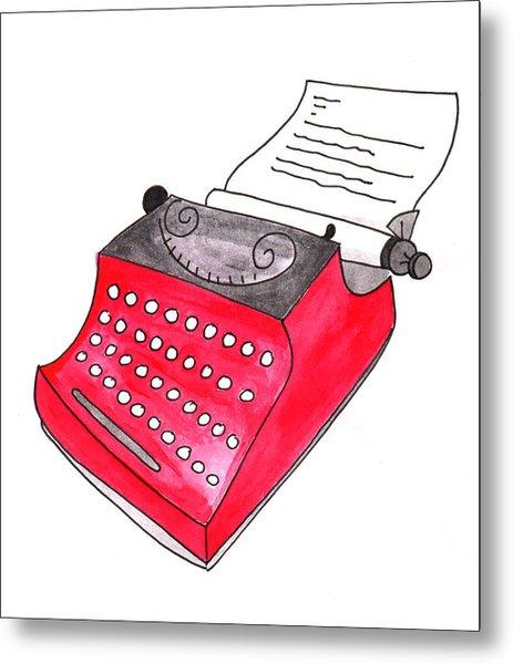 The Red Typewriter Metal Print