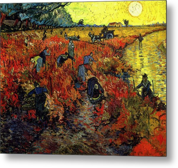 Metal Print featuring the painting The Red Vineyard At Arles by Van Gogh