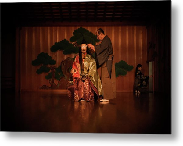 The Ritual Of The Costume In Noh Traditional Theater. Metal Print