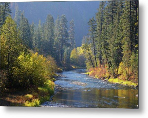 The River Runs Through Autumn Metal Print