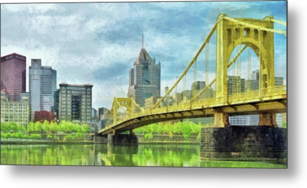 Metal Print featuring the digital art The Roberto Clemente Bridge In Pittsburgh by Digital Photographic Arts