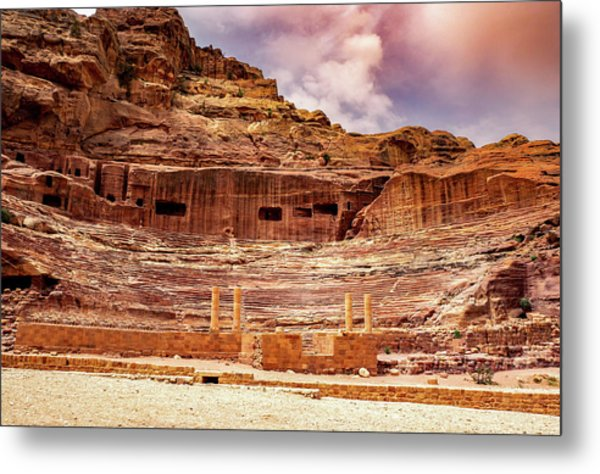 The Roman Theater At Petra Metal Print