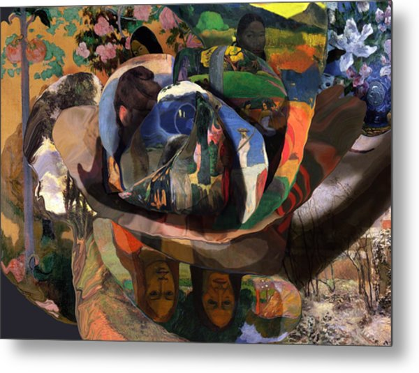 Metal Print featuring the digital art The Rose Of Gauguin by David Bridburg