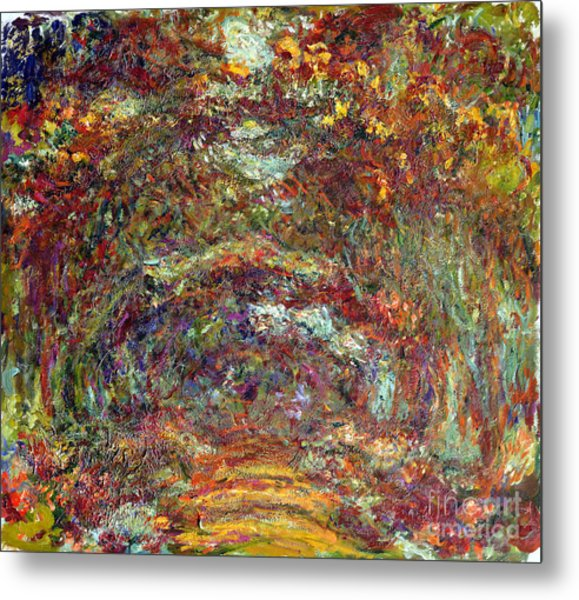 The Rose Path Giverny Metal Print