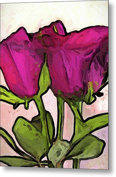 The Roses With The Green Stems And Leaves Metal Print