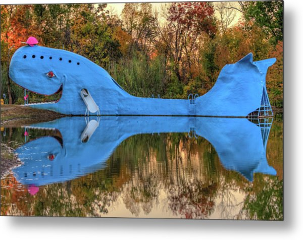 Metal Print featuring the photograph The Route 66 Blue Whale - Catoosa Oklahoma - IIi by Gregory Ballos
