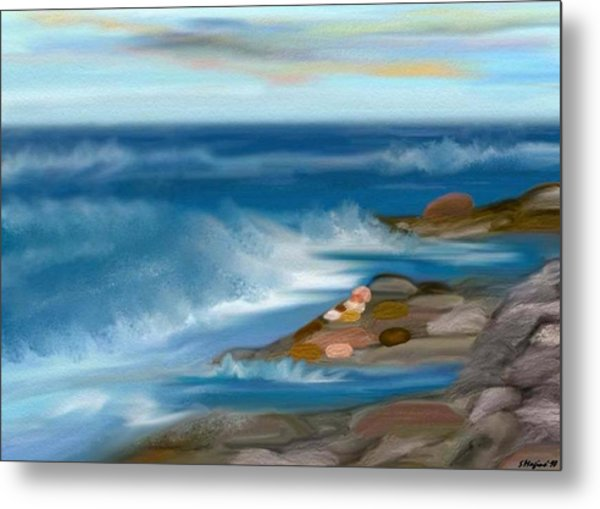 The Rush Of The Water Metal Print by Sher Magins