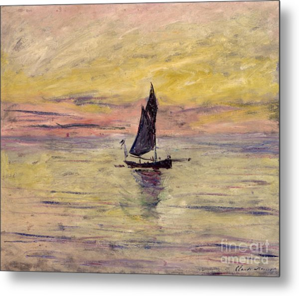 The Sailing Boat Evening Effect Metal Print
