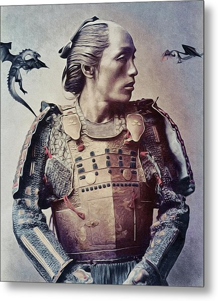 Metal Print featuring the mixed media The Samurai And The Dragons by Susan Maxwell Schmidt