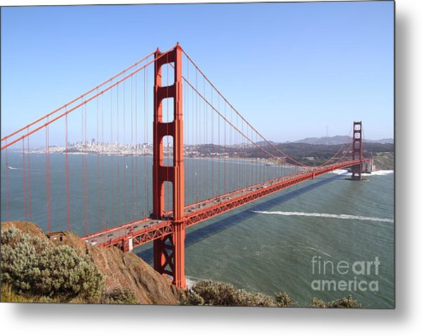 Metal Print featuring the photograph The San Francisco Golden Gate Bridge 7d14507 by Wingsdomain Art and Photography