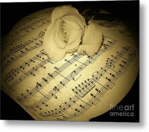 The Schubert Rose In Sepia Metal Print