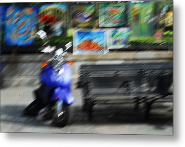 The Scooter Is Blue Metal Print by Wayne Archer