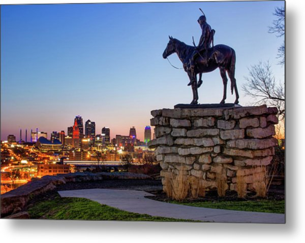 The Scout Overlooking The Kansas City Skyline Metal Print