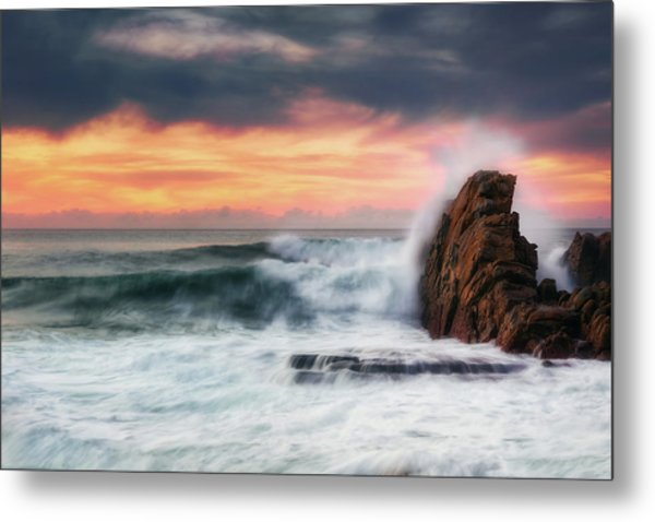 The Sea Against The Rock Metal Print