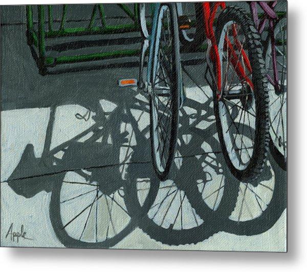 The Secret Meeting - Bicycle Shadows Metal Print by Linda Apple