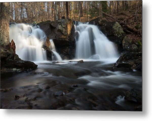 The Secret Waterfall In Golden Light Metal Print
