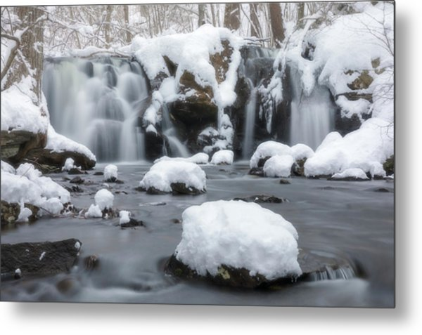 The Secret Waterfall In Winter 1 Metal Print