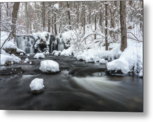 The Secret Waterfall In Winter 2 Metal Print