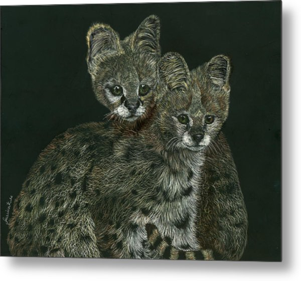 The Serval Twins Metal Print by Jessica Kale