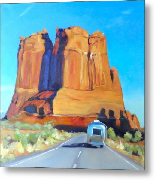 The Shadow Of The Three Gossips Arches Utah Metal Print