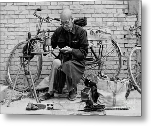 The Shoe Mender Metal Print