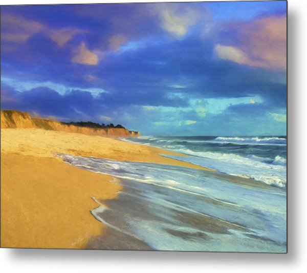 The Shoreline At Half Moon Bay Metal Print