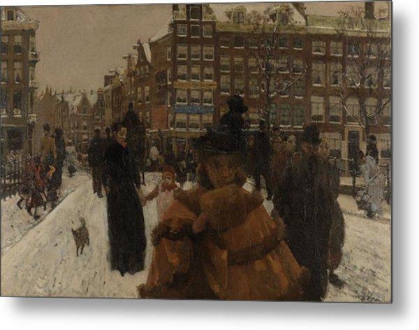 The Singel Bridge At The Paleisstraat In Amsterdam, 1896 Metal Print