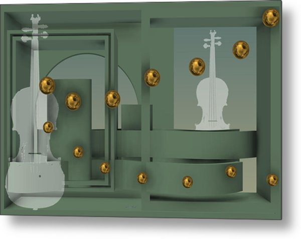 Metal Print featuring the digital art The Singular Song With Gold Balls by Alberto  RuiZ