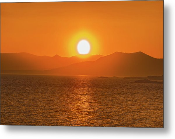The Smoke From A Forest Fire Gave Us This Tangerine Sky Over 11-mile Reservoir State Park, Colorado. Metal Print
