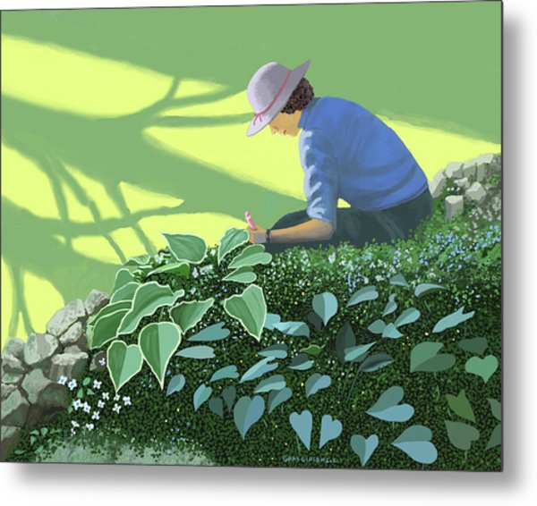 The Solace Of The Shade Garden Metal Print