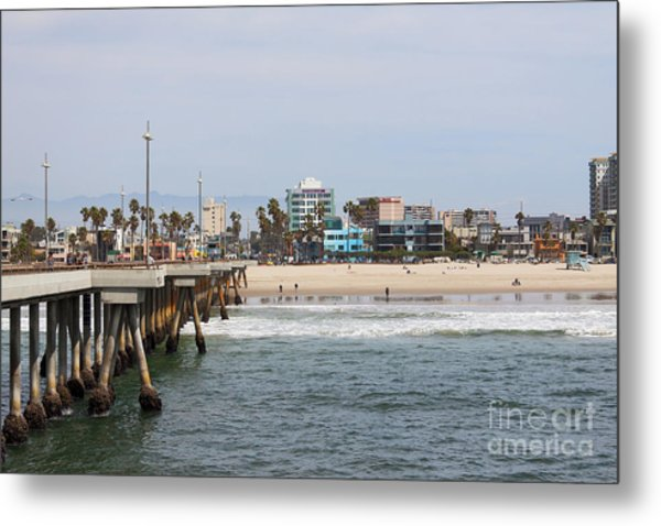 The South View Venice Beach Pier Metal Print