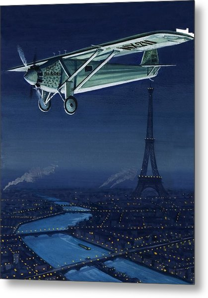 The Spirit Of St Louis Flying Over Paris Metal Print