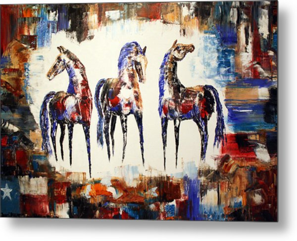 The Spirit Of Texas Horses Metal Print