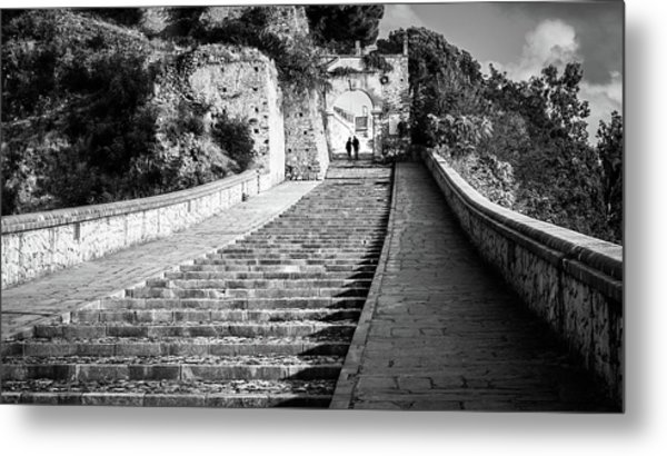 The Stairs - Paola, Italy - Black And White Street Photography Metal Print by Giuseppe Milo