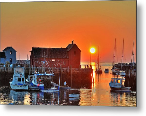 The Sun Rising By Motif Number 1 In Rockport Ma Bearskin Neck Metal Print