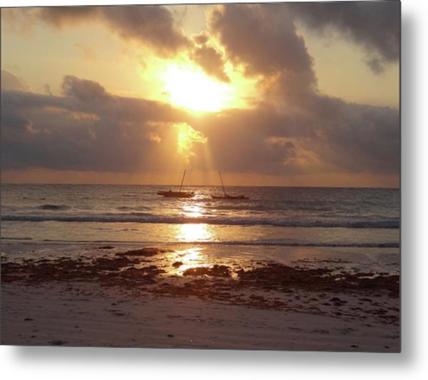 The Sunrise Between Two Wooden Dhows Metal Print