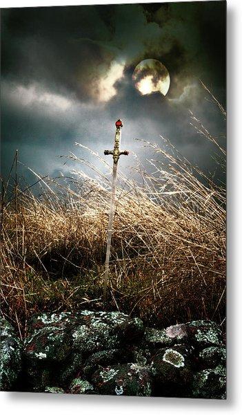 Sword Under A Full Moon Metal Print