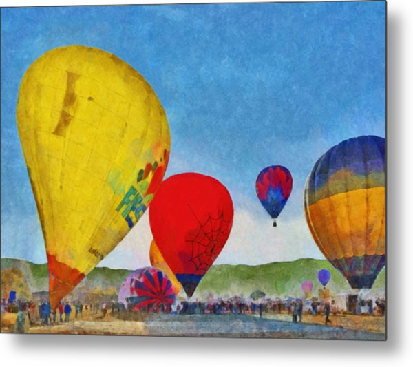 Metal Print featuring the digital art The Taos Mountain Balloon Rally 6 by Digital Photographic Arts