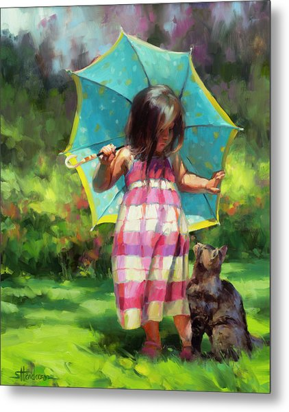 Metal Print featuring the painting The Teal Umbrella by Steve Henderson