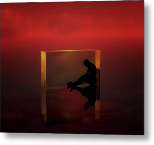 Metal Print featuring the mixed media The Thinker by Jan Keteleer