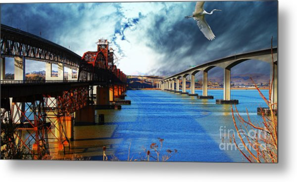 The Three Benicia-martinez Bridges . A Journey Through Time Metal Print