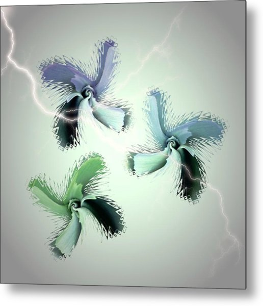 The Thunderbolt Dance Of Rose Butterflies - 4 Metal Print by Jacqueline Migell