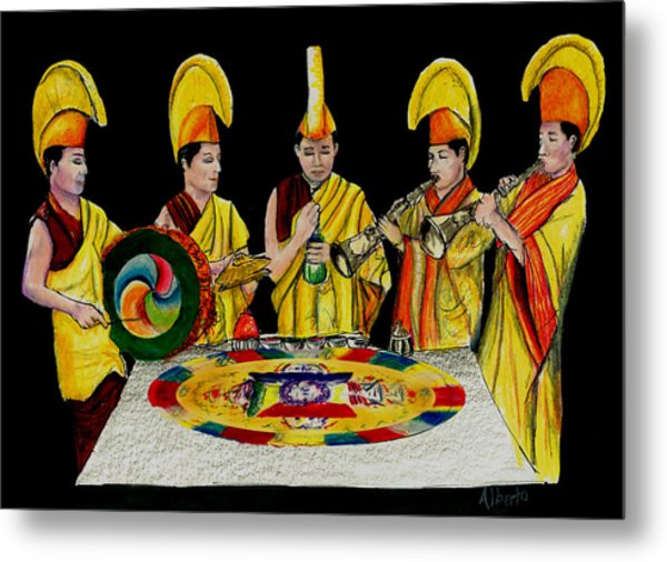 The Tibetan Monks At Lilydale Assembly Metal Print